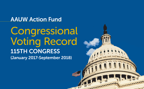 AAUW Action Fund Congressional Voting Record for the 115th Congress (Cover Image with picture of the U.S. Capitol)